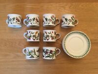 Eight Portmeirion Botanical teacups and saucers