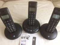 House phones with answer machine facility, comprises set of 3 portable handsets for upstairs use.
