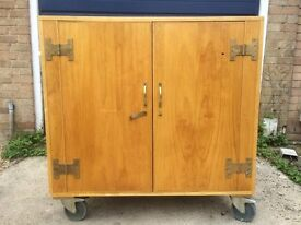4 Solid wood, large, hand-made cupboards