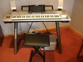 Yamaha Tyros 7 plus L7 stand, matching speakers and stool.