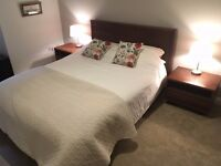 DWELL King Size Bed Solid Brown Wood and 2 Matching Side Tables
