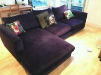 Large velvet chaise sofa