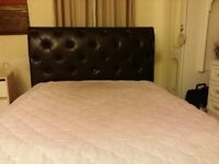 Kingsize deluxe brown leather bed with large headboard, including high quality mattress.