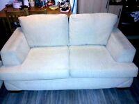 2 COMFY fabirc materials cream sofas