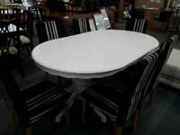 White Dining Table With Six Striped Dining Chairs Delivery Available