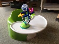 Baby Bumbo chair/tray and toy, boxed.