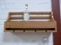 Oak wine bottle and glass rack