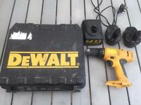 DEWALT DRILL 2 X BATTERIES CHARGER AND CARRY CASE
