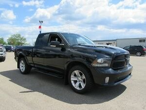 2013 RAM 1500 SPORT QUAD 4X4 W/ LEATHER, SUNROOF