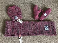 Superdry hat, snood and mittens