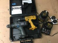 2 cordless hammer drills dewalt /wolf c/w 2x chargers and a case