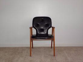 Black leather Danish retro armchair from 1970's