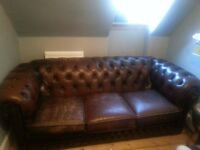 Shabby chic brown leather chesterfield sofa