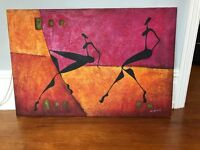 Canvas painting of African ladies