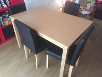 Oak effect table (120 x 80) and 4 chairs upholstered in chocolate leather effect fabric.