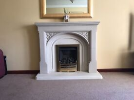 Stone fireplace surround,hearth and gas fire