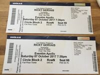 Ricky Gervais 2 x Tickets Eventim Apollo, London, 7th Oct