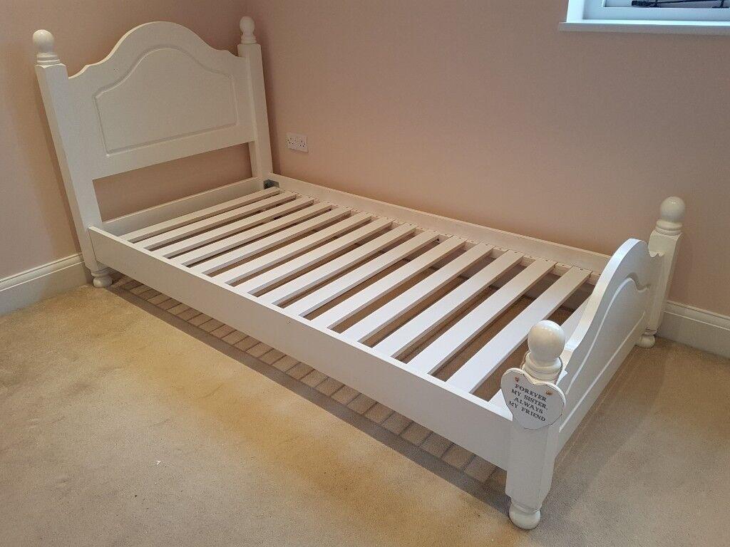 Childrens Single Bed White Wooden Headboard Low Junior Frame Full