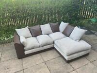Lovely Beige and brown corner sofa can be delivered