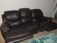 3 & 2 seater, brown leather reclining sofas. In good condition.