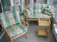 Bamboo Cane & Wicker 2 Seat Sofa 2 Chairs & Table Conservatory/Garden Furniture