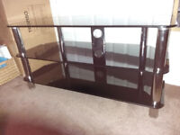 Mint condition TV table, black glass, nearly new, largeish