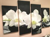 Large flowers painting canvas wall artwork MINT condition