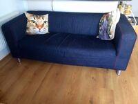 IKEA KLIPPAN two-seat sofa with denim blue cover