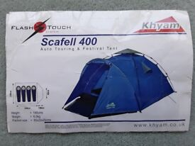 Tent suitable for festivals/touring, 3 to 4 persons, superior quality Kyham Scafell 400 Flash Touch.