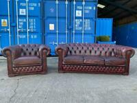 Beautiful Chesterfield Oxblood Leather 3 Seater Sofa and matching Club Chair