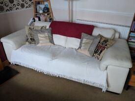 Large Off-White Leather Sofa - Needs Love