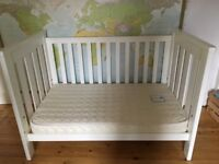 AMAZING white BOORI COT convertible in toddler bed with MATTRESS