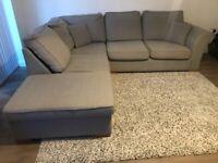 Large Silver/Grey Corner Sofa