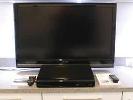 "Sharp 37"" Aquos 1080 TV with Matching Aquos BlueRay DVD Player"
