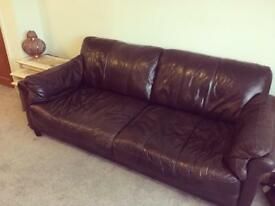 2 + 3 Seater Brown Leather Sofas