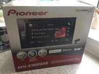 Pioneer AVH-X3800DAB double din car stereo for sale, excellent condition!!
