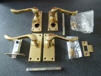 Door Handles Solid Brass Includes Spindle Screws Plate etc. Used