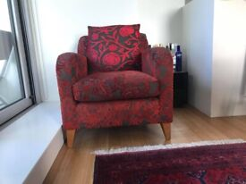 John Lewis red velvet armchair (with pattern)