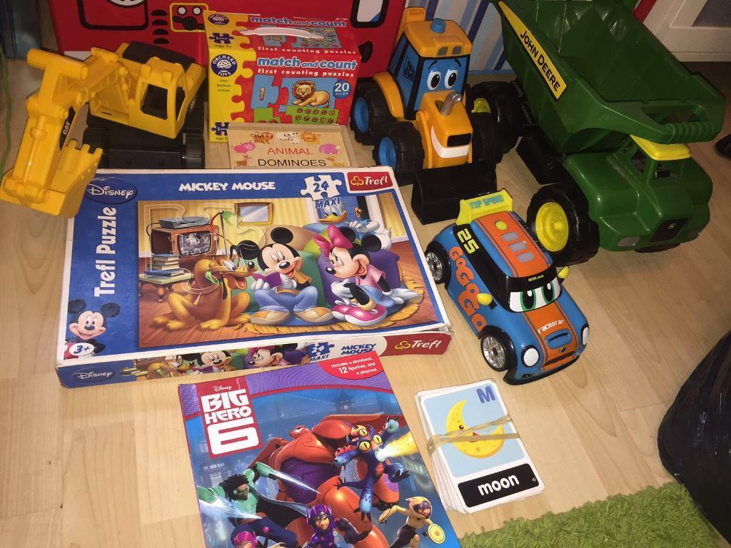 kids toy bundle 2 diggers dump truck jigsaw match game big