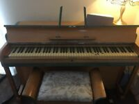 Small upright Kemble piano with matching stool