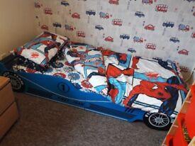 Childs Single Car Bed, Mattress & Topper