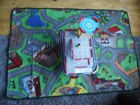 KIDS CAR MAT WITH WOODEN CAR GARAGE NO CARS INCLUDED