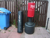 EVERLAST FREE STANDING KICK BAG AND REEBOK PUNCH BAG