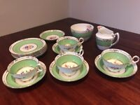4 piece China tea set, jug, sugar bowl, 6 plates - green & white with gold trim