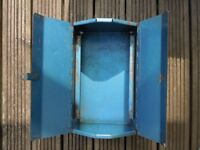 "VINTAGE BLUE METAL TOOL BOX WITH TRAY, L: 14"", COLLECT STRATFORD ON AVON"