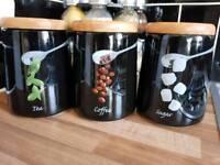 Set of 3 Black Contemporary Tea, Coffee & Sugar Jars
