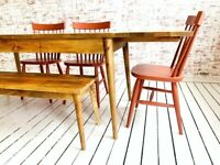 Mid-Century Kitchen Dining Table Extending with Painted Nordic Chairs and Bench