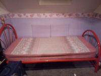 Steel frame single bed