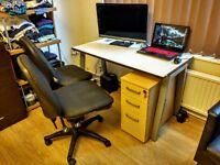 Office furniture great condition 1 desk, 2 chairs, 1 underdesk mobile pedestral