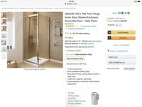 Shower enclosure, chrome and glass 760 x760 brand new